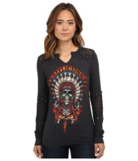 Affliction Wild Buffalo Long Sleeve Paneled Western Top Vintage Black Vapor Wash Women's Long Sleeve Pullover