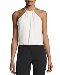 Halston Halter Neck Top W Crossover Chain Back Chalk
