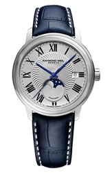 Raymond Weil Maestro Moon Phase Automatic Leather Strap Watch 40Mm
