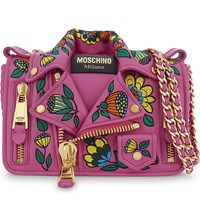 Moschino Floral Biker Jacket Leather Cross Body Bag Pink