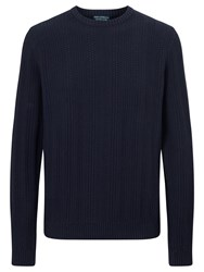 John Lewis And Co. Multi Stitch Cotton Crew Neck Jumper Blue