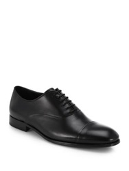 Giorgio Armani Leather Captoe Lace Up Shoes Black