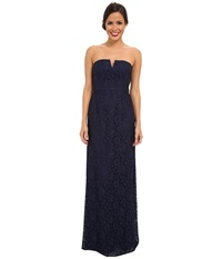 Donna Morgan Strapless Lace Long Gown Indigo Women's Dress Blue