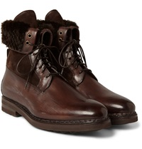 Santoni Shearling Lined Leather Boots