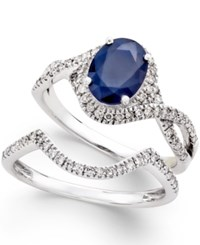 Macy's Sapphire 1 1 2 Ct. T.W. And Diamond 3 8 Ct. T.W. Bridal Set Of 2 Rings In 14K White Gold Blue