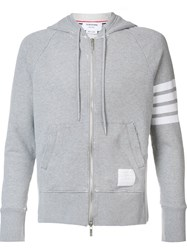 Thom Browne Striped Sleeve Zipped Hoodie Grey