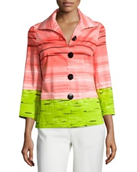 Berek Zebra Striped 3 4 Sleeve Jacket Coral Multi