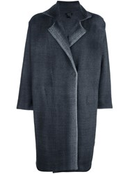 Avant Toi Oversized Herringbone Coat Grey