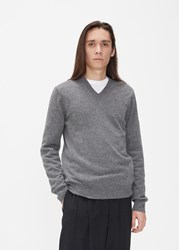 Comme Des Garcons Small Red Heart Sleeve V Neck Pullover Grey