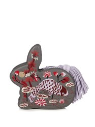 Hillier Bartley Bunny Embroidered Leather Clutch Grey Multi