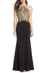 Xscape Evenings Gold Embroidery Halter Neck Gown Black Gold