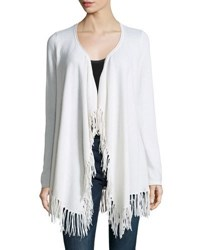 Minnie Rose Cashmere Fringed Trim Open Front Cardigan White