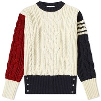 Thom Browne Funmix Aran Cable Four Bar Donegal Crew Knit White