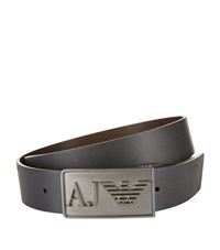Armani Jeans Grained Leather Belt Unisex Black