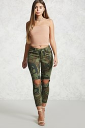 Forever 21 Distressed Camo Skinny Pants Olive Multi