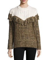 Thakoon Two Tone Fringed Pullover Sweater Ivory Brow