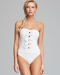 Juicy Couture Bow Chic Tie Bandeau Maillot One Piece Swimsuit Angel