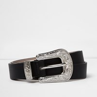 River Island Womens Black Silver Buckle Western Belt