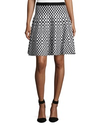 Chelsea And Theodore A Line Diamond Print Skirt Black Ivor