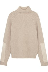 Victoria Beckham Satin Paneled Ribbed Wool Turtleneck Sweater Ecru