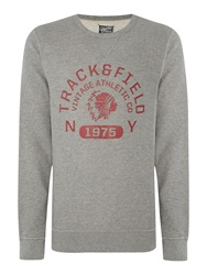 Jack And Jones Track And Field Large Logo Crew Neck Jumper Light Grey