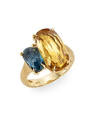 Marco Bicego Murano Citrine London Blue Topaz And 18K Yellow Gold Ring Gold Multi