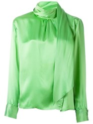 Yves Saint Laurent Vintage Scarf Detail Blouse Green