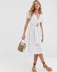 Boohoo Midi Dress With Puff Sleeve And Tie Waist In White With Blue Spot