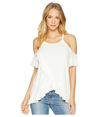 Miss Me Open Shoulder Ruffle Top White Clothing