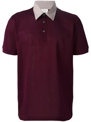 Brioni Contrast Collar Polo Shirt Red
