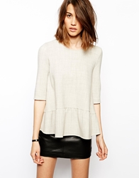 Baandsh Semi Woven Top With Peplum Frill Grey
