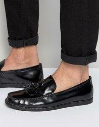 Dune Tassel Penny Loafers In Black Leather Black