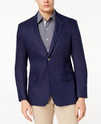 Tasso Elba Men's Linen 2 Button Blazer Created For Macy's Navy Blue