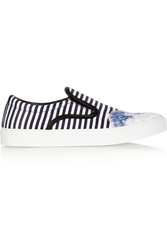 Mother Of Pearl Achilles Striped Satin Slip On Sneakers Blue
