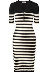 Altuzarra Sunday Striped Ribbed Stretch Knit Midi Dress Black