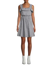 7 For All Mankind Ruffled Gingham Tie Back Fit And Flare Dress Black White