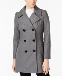 Anne Klein Petite Double Breasted Peacoat Medium Grey