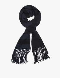 Ami Alexandre Mattiussi Striped Knitted Scarf Black Navy