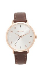 Nixon Arrow Leather Watch Rose Gold Silver