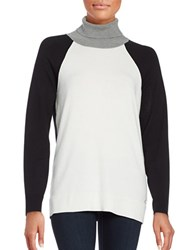 Calvin Klein Colorblocked Turtleneck White