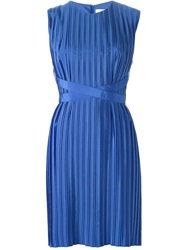 Victoria Victoria Beckham Sleeveless Pleated Dress Blue