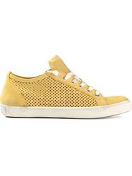 Leather Crown Mesh Panel Trainer Yellow And Orange