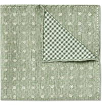 Brunello Cucinelli Double Faced Silk And Cotton Blend Pocket Square Green