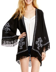 Jessica Simpson Embroidered Fringe Cardigan Black