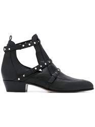 Jimmy Choo 'Harley' Cutout Ankle Boots Women Goat Skin Leather Rubber 37 Black
