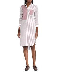 Ralph Lauren Mixed Stripe Shirt Dress White Red Multi