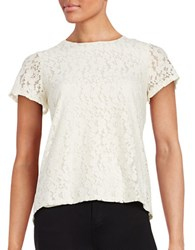 Tommy Hilfiger Floral Lace Short Sleeved Top Vanilla