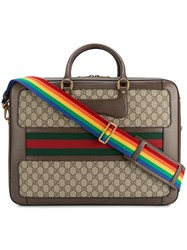 Gucci Leather Rainbow Strap Gg Briefcase Leather Canvas Brown