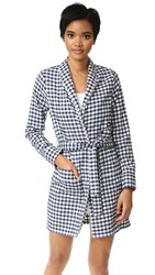 Three J Nyc Alex Flannel Robe Navy Gingham Cream