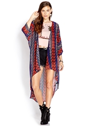 Forever 21 Tribal Print Maxi Cardigan Black Coral